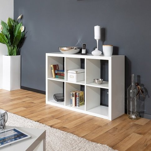 Darby Shelving Unit In White High Gloss With 6 Compa...