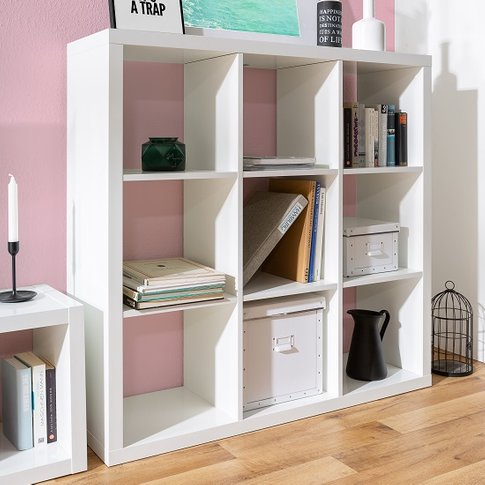 Darby Shelving Unit Wide In White High Gloss With 9 ...