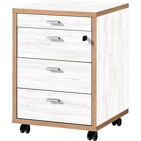 Darcey Wooden Office Cabinet In White And Oak With 4...