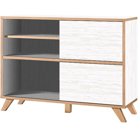 Darcey Shelving Unit In White And Oak With 2 Sliding...