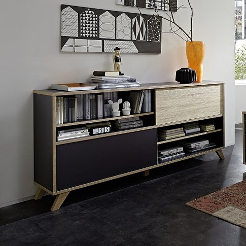 Darcey Wooden Shelving Unit Wide In Anthracite And S...