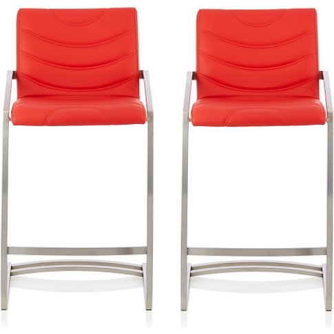 Darren Bar Stool In Red Faux Leather In A Pair
