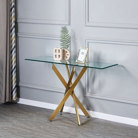 Daytona Clear Glass Console Table With Brushed Gold ...