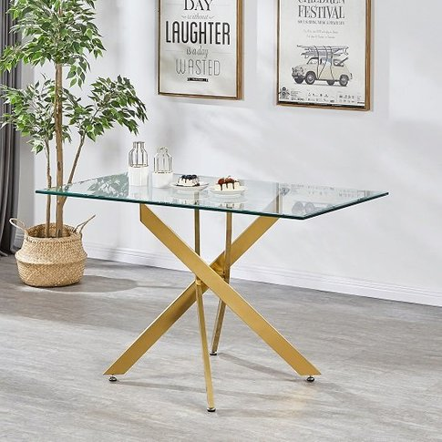 Daytona Clear Glass Small Dining Table With Brushed ...