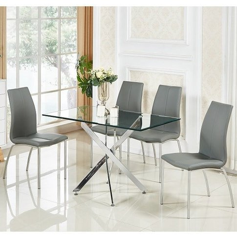 Daytona Small Glass Dining Table With 4 Opal Grey Ch...