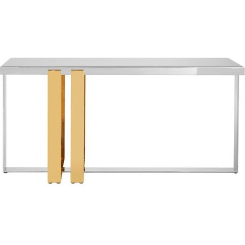 Demas Glass Console Table With Gold And Silver Base