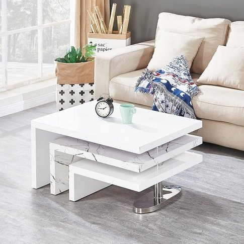 Design Rotating Coffee Table In Gloss White And Marb...