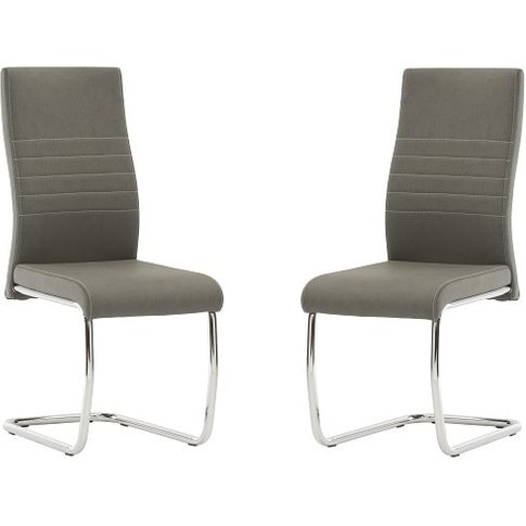 Devan Cantilever Dining Chair In Grey Faux Leather I...