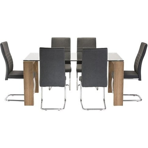 c4a01dce70f2e Devan Glass Dining Table Set In Clear With 6 Black C... Furniture in Fashion