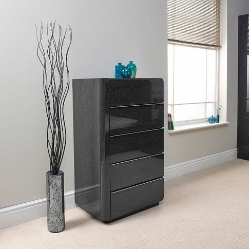 Devito Wooden Chest Of Drawers In Grey Gloss Grain E...
