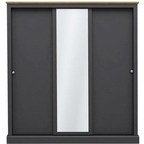 Devon Wooden Sliding Wardrobe In Charcoal With 3 Doors