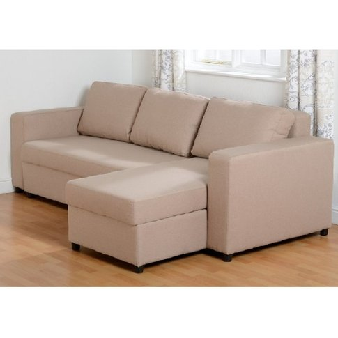 Dexter Corner Sofa Bed In Light Brown Fabric With St...