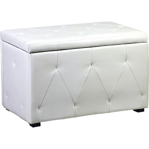 Diana Storage Stool In White Faux Leather