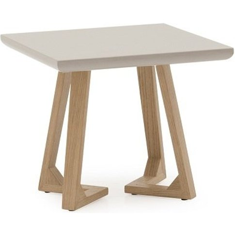 Divine Lamp Table Square In Grey Gloss With Oak Legs