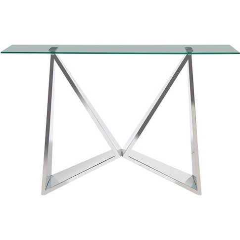 Dokos Clear Glass Console Table With Winged Shape Base