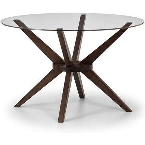 Domino Glass Dining Table Round In Clear With Walnut...