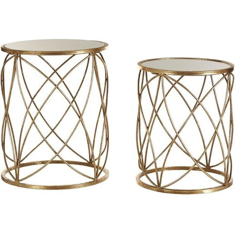 Duchess Mirrored Top Set Of 2 Side Table In Weathere...
