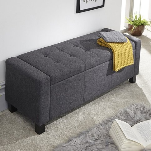 Dunston Fabric Ottoman Storage Blanket Box In Charcoal