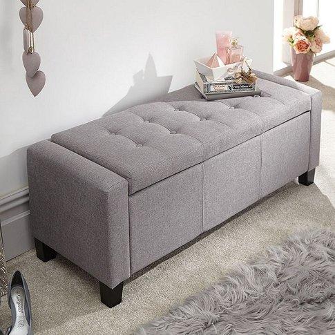 Dunston Fabric Ottoman Storage Blanket Box In Grey