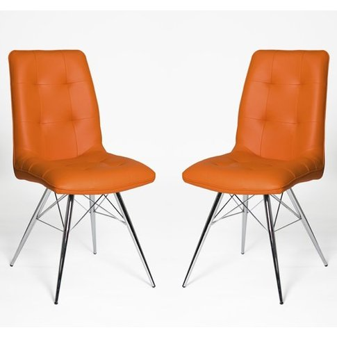 Eason Dining Chair In Orange Pu With Chrome Legs In ...