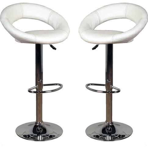 Eclipse Milk Leather Bar Stools In Pair
