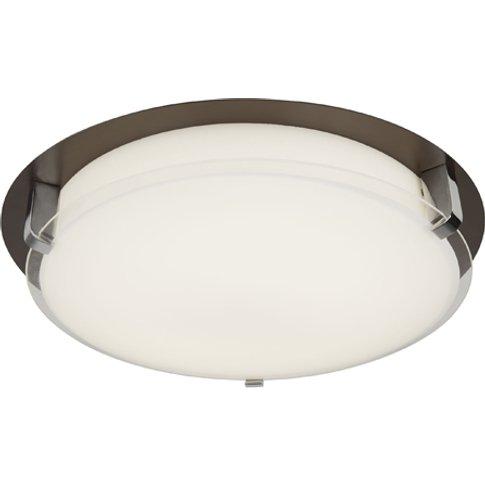 Edinburgh Led Flush Ceiling Light In Brown And White