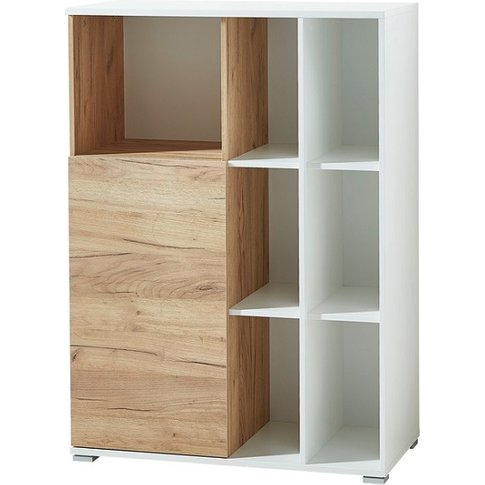 Effie Small Filing Storage Cabinet In White And Nava...