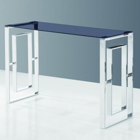 Elba Glass Console Table In Smoke With Polished Stee...