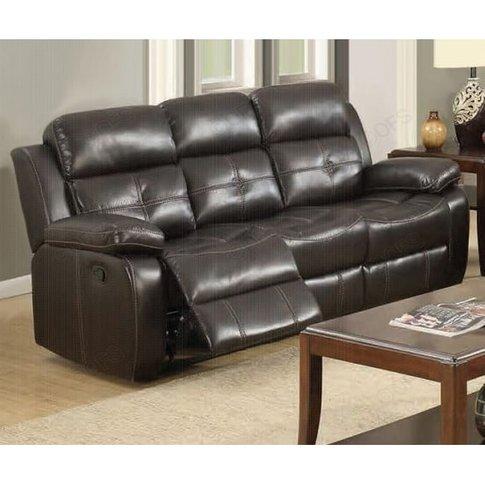 Elessia Reclining 3 Seater Sofa In Dark Brown Faux L...