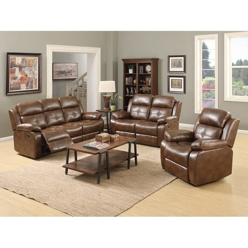 Elessia Reclining Sofa Suite In Tan Faux Leather
