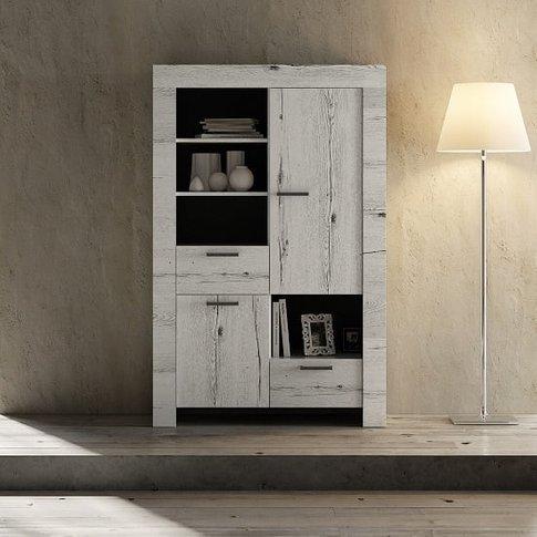 Ellie Wooden Display Cabinet In White Oak With 2 Doors