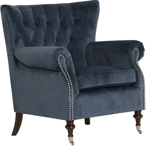 Elmore Modern Accent Chair In Blue Velvet Midnight