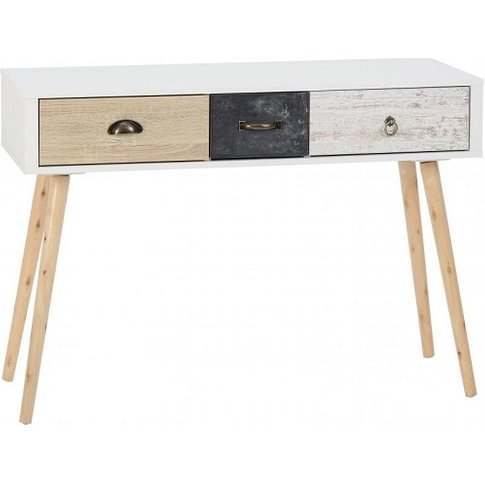 Elston Console Table In White And Distressed Effect
