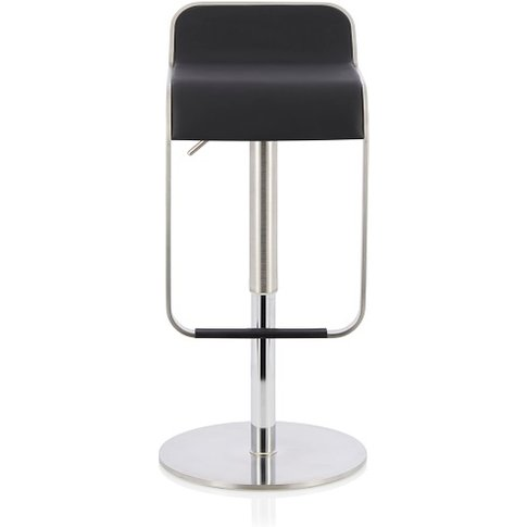 Emelia Bar Stool In Black Faux Leather And Stainless...