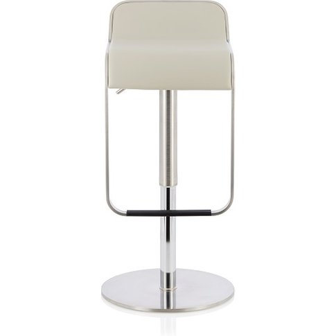 Emelia Bar Stool In Grey Faux Leather And Stainless ...