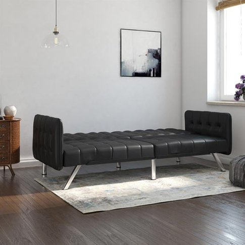 Emily Leather Convertible Clic Clac Sofa Bed In Black