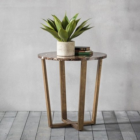 Emphora Marble Round Side Table With Metal Base
