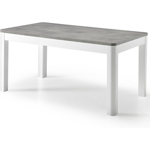 Enox Dining Table In Marble Effect And White High Gloss