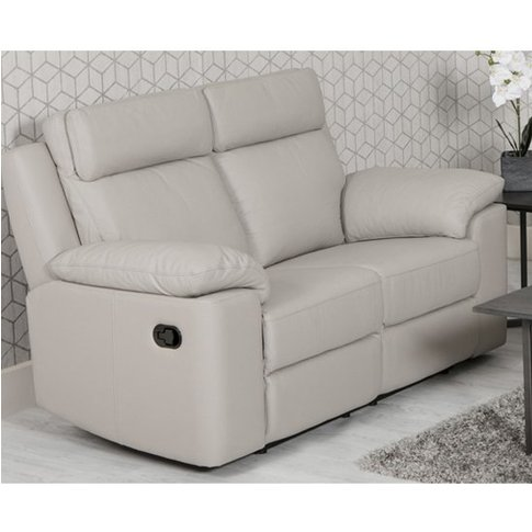 Enzo Faux Leather 2 Seater Recliner Sofa In Putty