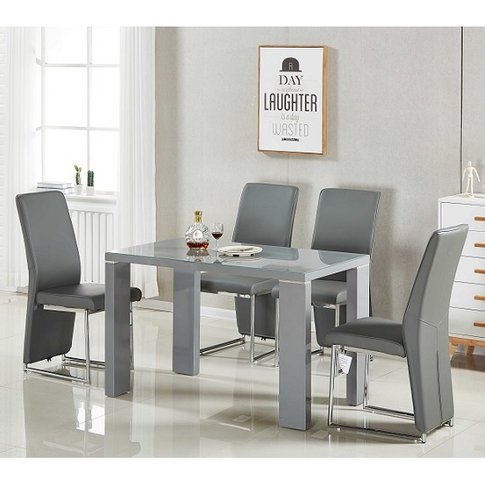 Enzo Glass Dining Table Small In Grey Gloss With 4 E...