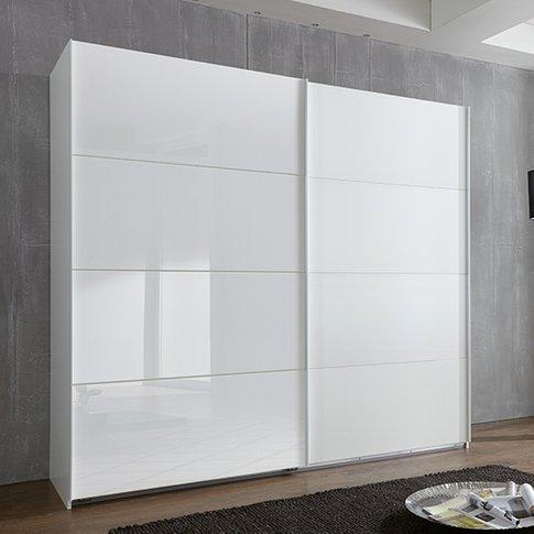 Ernesto Sliding Door Wide Wooden Wardrobe In White