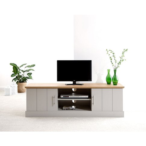 Ervin Wooden Large Tv Stand In Grey With Oak Effect Top
