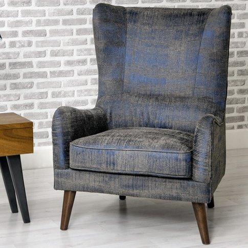 Erwan Fabric Sofa Chair In Blue With Wooden Legs