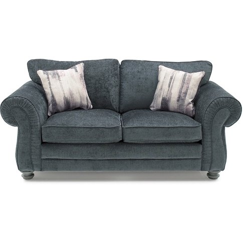 Esprit Fabric 2 Seater Sofa In Charcoal With Wooden ...