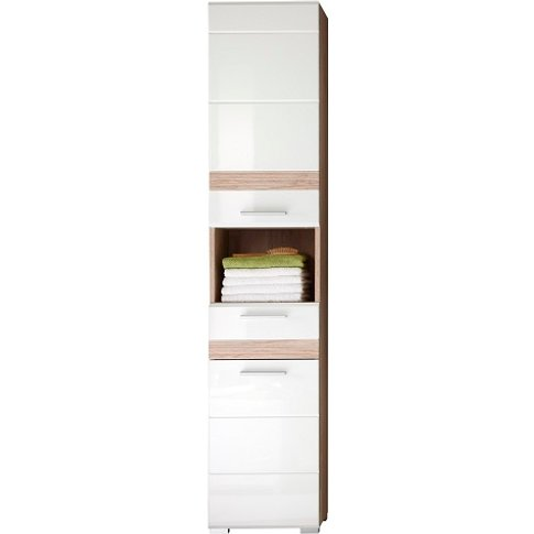 Eterno Tall Bathroom Cabinet In Oak And White High G...