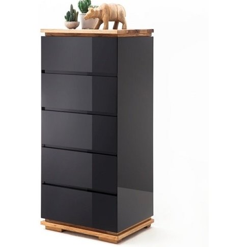 Everly Chest Of Drawers In Black High Gloss Lacquere...