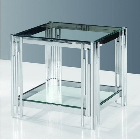 Evoke Glass Side Table In Clear With Polished Steel ...
