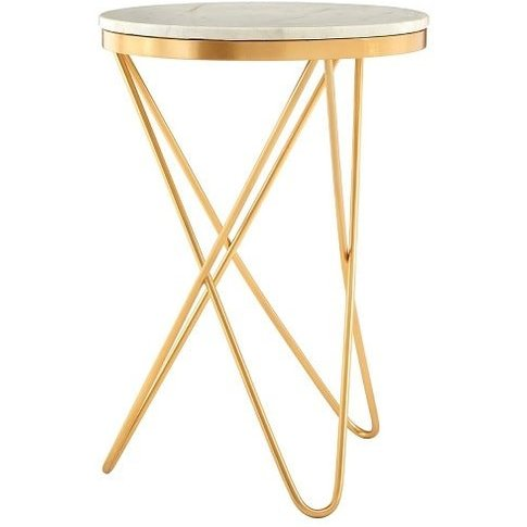 Evolution Marble Top Side Table In White With Iron Legs