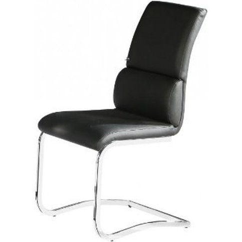 Fairmont Dining Chair In Black Faux Leather With Chr...