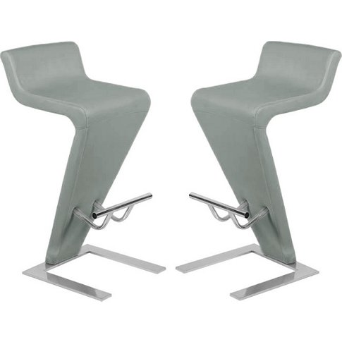 Farello Bar Stools In Charcoal Grey Faux Leather in ...